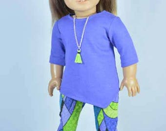 Tunic SWEATER Top Periwinkle Blue Purple with Multicolor LEGGINGS with Necklace and SHOES Option for American Girl or 18 inch Doll