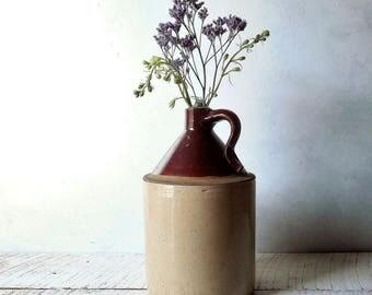 Salt Glaze Stoneware Jug - Vintage Moonshine, Cider Shoulder Jug- Brown & Cream Crock,Rustic Country Cottage Flower Vase /0635
