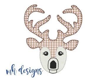 Deer applique design, Vintage stitch deer, Deer embroidery file, Blanket stitch deer, Raggy Applique, Fall design, Buck, Hunting, Woodland