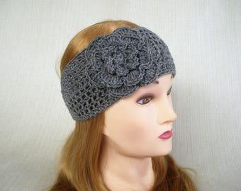 Womens headband Crochet headband ear warmer Winter headband head wrap Crochet head band with flower Crochet earwarmer headwrap Hair band