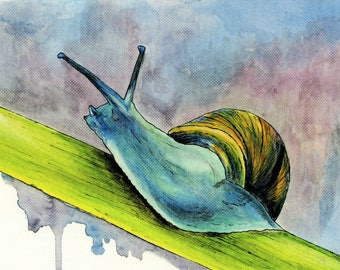 Snail Print, Watercolor painting, Snail Painting, Snail print, Snail Artwork, Art Print