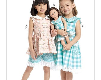 McCalls 7588- Sewing pattern for 18 Inch Doll Clothes- and Matching Girls Dress- Fits American Girl Dolls-