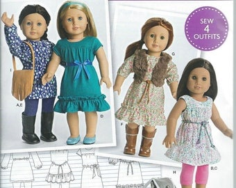Simplicity 8282- Sewing pattern for 18 Inch Doll Clothes- Fits American Girl Dolls