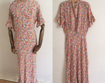 Vintage 1930's floral print tea dress/30's rayon tea dress/30's tea dress