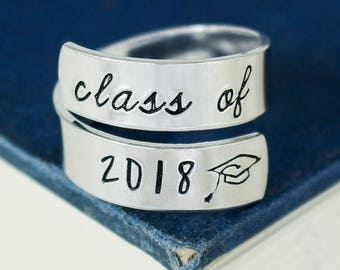 Class of 2018 Wrap Ring - Graduation Gift