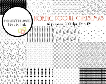 Scandinavian Digital Paper, Nordic Digital Paper, Black and White Digital Paper, Christmas Digital Paper, Nordic Doodle Christmas Paper