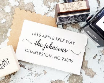 Custom Stamp, Rustic Address Stamp,  Moving Address Stamp, Custom Return Address Stamp, Personalized Stamp, Wedding Stamp calligraphy  10318