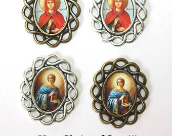 15%OFF SALE One (1) St. Anastasia Rosary Center/Rosary Making/Custom Rosary Part/Your choice of Image and Metal (Bronze or Antique Silver)