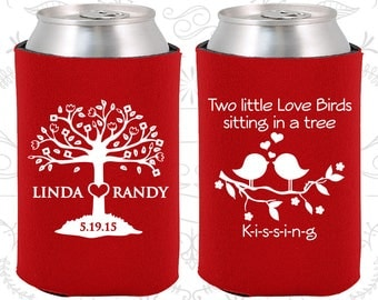 Two little love birds sitting in a tree Kissing, Wedding Gift, Love Tree, Love Birds Wedding Gift, Cheap Wedding Can Coolers (249)