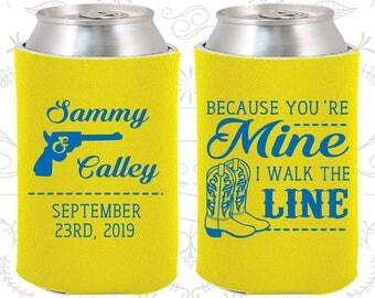 Because You are mine, I walked the line, Custom Wedding Gift, Country Wedding Gift, Western Wedding Gift, Cowboy Boots, Can Coolers (474)