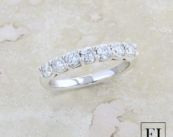 Seven Stone Shared Prong Diamond Anniversary Band in 14K White Gold
