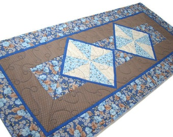 """Shabby Cottage Chic Quilted Table Runner, Traditional Pinwheel Table Mat, Blue and Tan Floral Table Topper, 30""""x13"""", Quiltsy Handmade"""