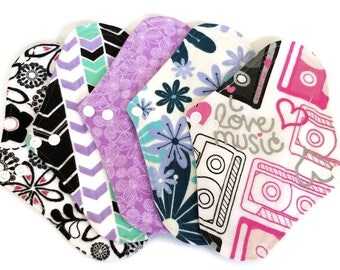 Cloth Pads, Set of 5 Moderate Flow Reusable Cloth Pads - Pick your length!  Surprise prints! Starter Set, Stash Builder