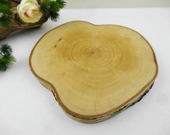 """Wood Slab, 8"""" Wood Slice, Tree Slab, Tree Slice, Tree Trunk Slice, Birch Wood Slice, Wood Slab Charger, Wooden Serving Platter, Table Riser"""