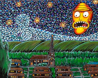 """Show me what you Gogh't"""" Large at 18x9"""" Print from the Original painting! 100 pound paper quality paper!"""