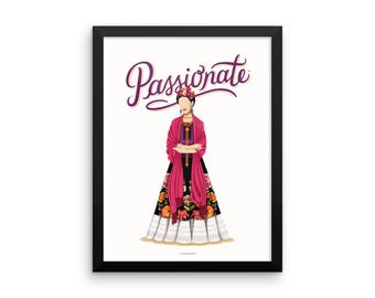 FRAMED Frida Kahlo Passionate Poster, Future is Female, Art Gift for Her, Who Run the World, Girls Pop Art, Women, Painter, Feminism Art