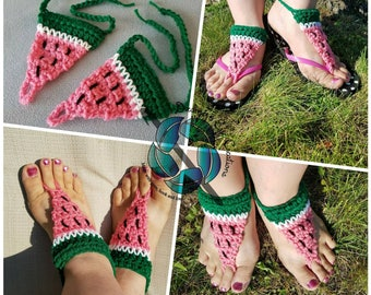 Watermelon Slices, Barefoot Sandals, Flip Flop Accessories