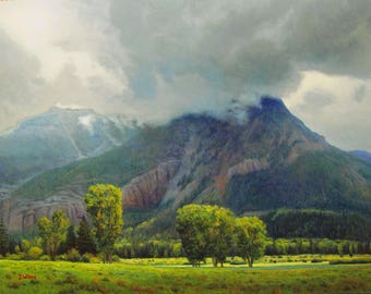 Rain In The Valley - 8x10 inch Print,  Original Oil Painting by Jurgen Wilms, Southwestern Landscape Painting, Mountains -  Pagosa Springs