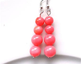 Coral dangle earrings, for pierced ears. coral pinks.