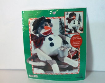 "Leisure Arts 21""Sock Monkey Kit 46303 Flakey Flocon with Adoption Papers Sealed Made in the USA!"