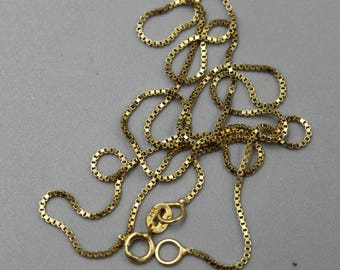 14K Gold Chain 14K Yellow Gold Necklace with Box Links Estate Jewelry from Charmhuntress X114