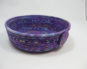 Coiled Fabric Bowl, Handmade Fabric Basket, Purple Bowl
