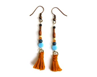 Earrings red tassels and beads