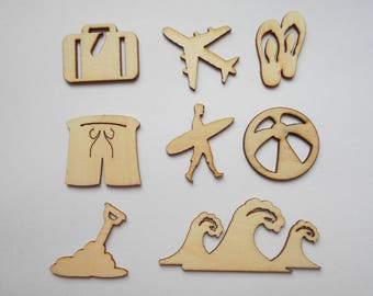 8 wooden figurines wooden sea, vacation, new beach themed embellishments