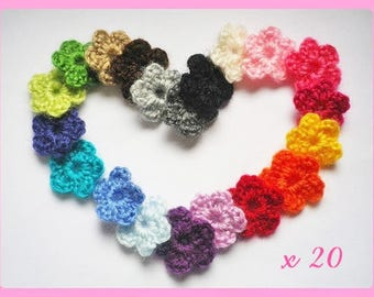 Set of 20 flowers applique crochet woolen 2.5 cm