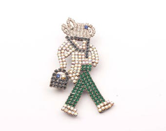 Czech vintage glass rhinestone figural bunny rabbit jewelry pin brooch 901-51