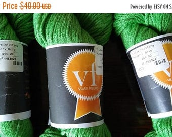 "On Sale NEW 3 Skeins ""Vijay Fibers"" 100% Silk Mulberry Brio Yarn, Spring Green, Each 197 Yds., Bright Green Silk Yarn, New Skeins"