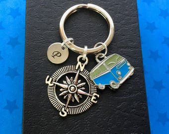 Camper van keyring - Personalised camper van keychain - Camping gift - Travel keyring - Stocking filler - Secret Santa - Stocking filler