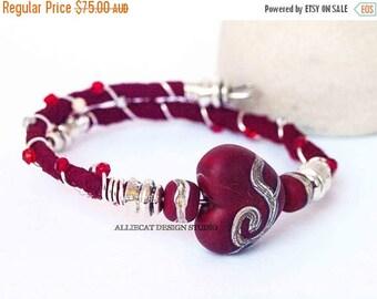 1000 SALES Bohemian Wrap Bracelet, Boho Wrap Bracelet, Bespoke Gypsy Red CreamHeart Single Wrap Cuff Bracelet NEW