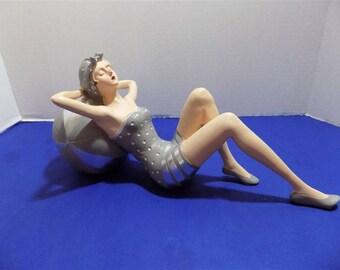 NEW Rare Art Deco Style Bathing Beauty Swim Suit PVC Resin Figurine Scuplture Home Decor Miami Beach Gift