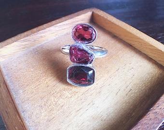 Rough garnet ring, raw gemstone ring, rhodolite garnet, raw garnet ring, garnet ring, January birthstone, raw rhodolite, raw crystal ring