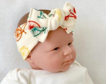 Bicycle baby headband, organic headband, baby bow headband, baby girl headband, newborn headband, baby knot headband, baby knot headband