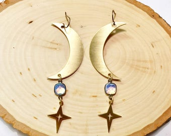 Luna Goddess Earrings with Crescent Moons, Opalite, and Stars