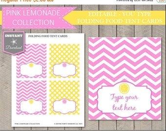 SALE INSTANT DOWNLOAD - Pink Lemonade Editable Food Tent Cards / You Type / Diy Printables / Pink Lemonade Package / Item #405