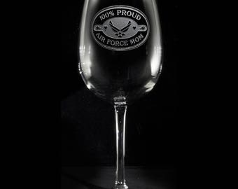 Air Force Mom Wine Glass, Proud Air Force Mom, Military Mom Gifts
