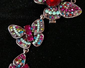 3 Linked Crystal Butterflies, Hair Jewelry