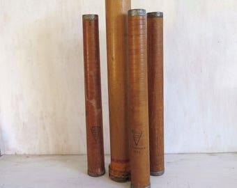 4 Vintage Industrial Spool Bobbin 1 Wood 3 American Paper Tube Prim Rustic Decor