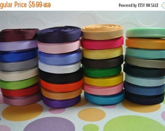"ON SALE 34 yards-1/4"" grosgrain solid  ribbon  lot  collection"