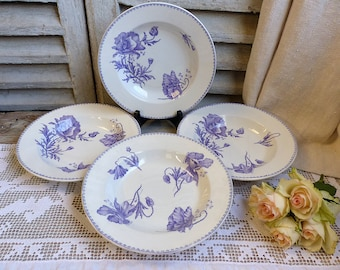 Set of 4 Antique french lavender transferware soup plates. Violet. Purple Lavender french transferware. Jeanne d'Arc living. French Nordic