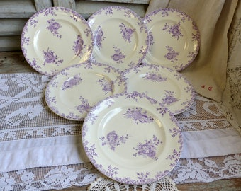 Set of 6 Antique french ironstone lavender transferware plates. Lavender transferware. Antique french transferware. Purple transferware