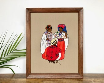Vintage Wall Hanging | Large South American Crewel Embroidery Art | Home/Wall Decor