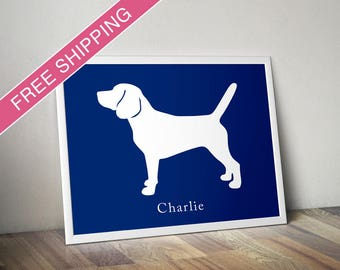 Personalized Beagle Silhouette Print with Custom Name (version 2) - beagle gift, dog home decor, dog art