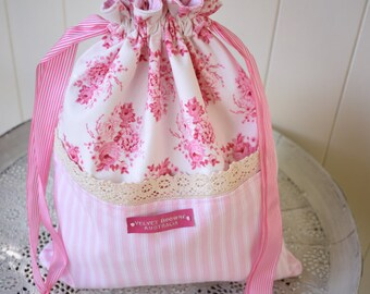 Bag, Pink stripe, Laundry, Drawstring,Chic Cosmetic Lace, Bags and Purses, Shoe Bag, floral Gift For Her, Made in Australia, Shabby Cottage