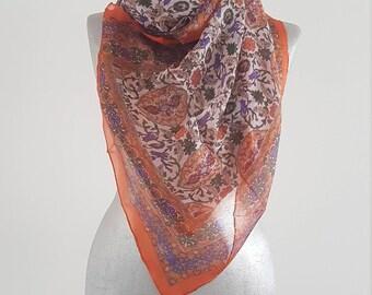 Silk Scarf Tulip Print Scarf Orange Silk Scarf For Her Women Fashion Fall Fashion Girlfriend Scarf Gift Ideas