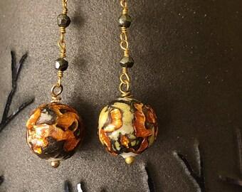 Orange bohemian glass and pyrite earrings