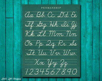 Classroom Decor. Cursive Alphabet Letters. Classroom Sign. Vintage Alphabet Sign. Teacher Sign. Penmansip Alphabet Art. ABC Wall Art Decor